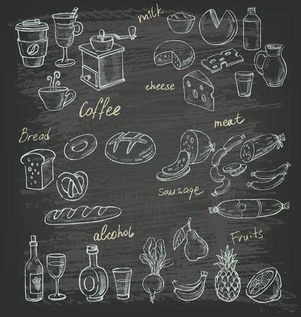 Vektor Hand gezeichnete Illustration von Essen auf schwarz