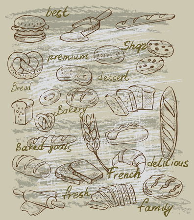 baking bread: vector hand drawn illustration of bread on beige Illustration