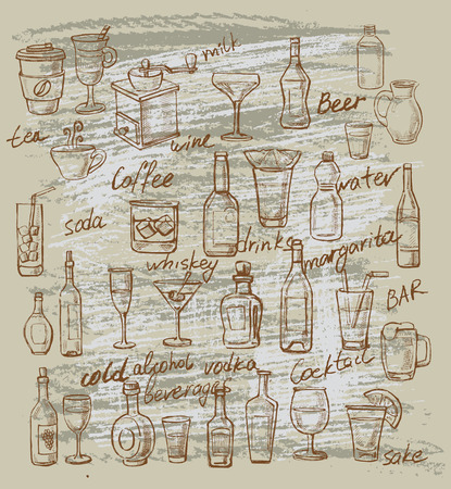 vector hand drawn illustration of beverages on beige