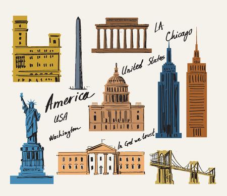 érdekes: vektoros illusztráció érdekes hely az USA-ban Illusztráció