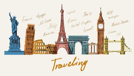 viajes: Ilustración vectorial de interesante en todo el mundo