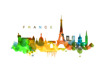 travel destination: vector france Illustration