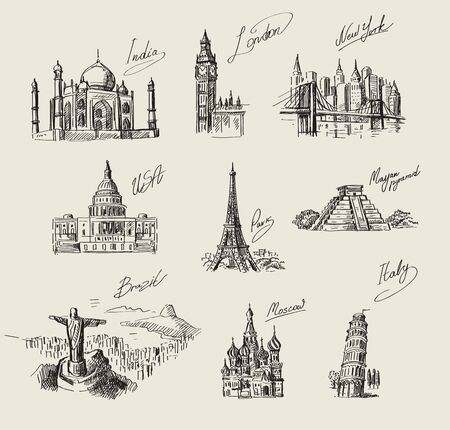student travel: vector hand drawn travel sketch and nature Illustration