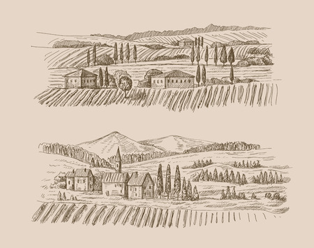 vector hand drawn village houses sketch and nature 일러스트