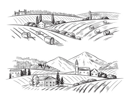 country landscape: vector hand drawn village houses sketch and nature Illustration