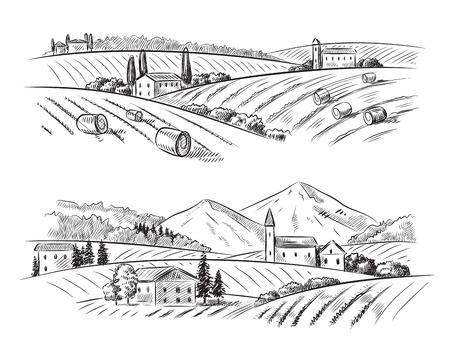 táj: vektor, kéz, húzott falusi házak vázlat és a természet Illusztráció