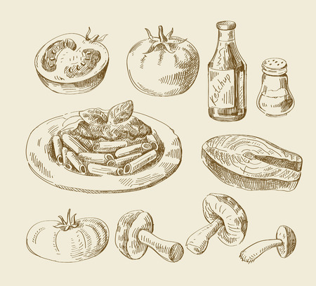 벡터 손으로 그린 음식 스케치 및 주방 낙서