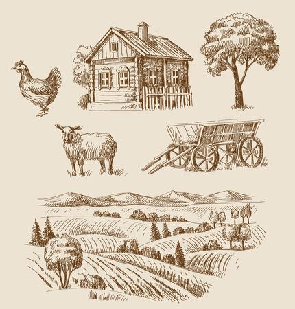 paisaje rural: dibujado a mano conjunto de vectores granja y animales sin fisuras Vectores