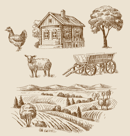 rural houses: vector seamless farm and animals hand drawn set