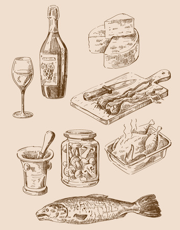 cheese: vector hand drawn food sketch and kitchen doodle