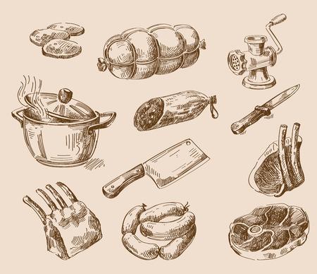 saucisse: croquis alimentaire dessinée vecteur main et cuisine doodle