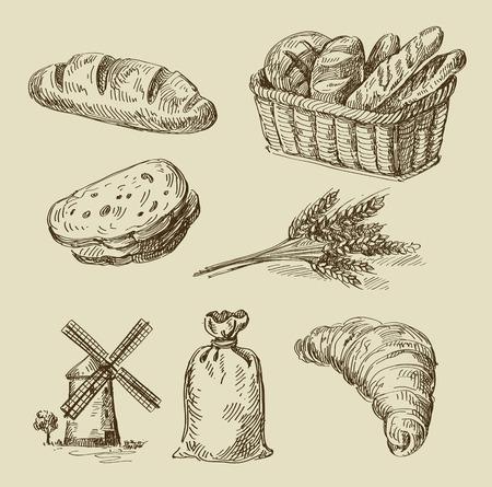 comiendo pan: boceto dibujado alimentos vector de la mano y del doodle del pan