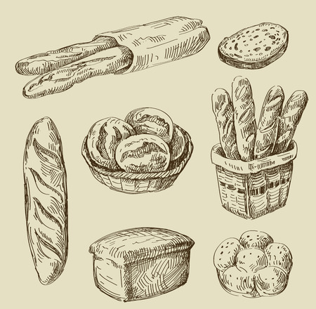 vector hand drawn food sketch and bread doodle Иллюстрация
