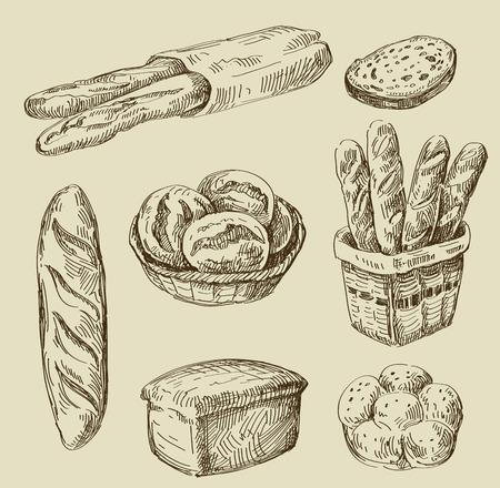 Vektor handgezeichneten Skizze Speisen und Brot doodle Standard-Bild - 45489077
