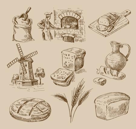 cocina antigua: boceto dibujado alimentos vector de la mano y del doodle del pan