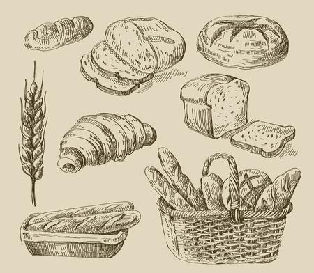 pain: croquis alimentaire dessin�e vecteur main et pain doodle