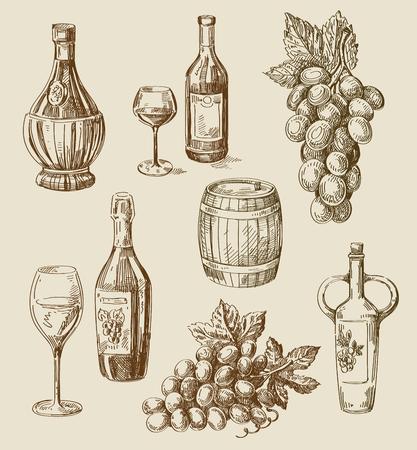 ベクトル手描きワインのスケッチとブドウ園の落書き  イラスト・ベクター素材
