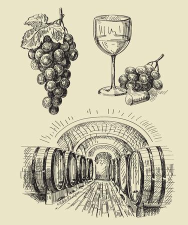 tuscany vineyard: vector hand drawn barrels sketch and vineyard doodle