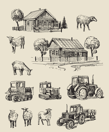 vector seamless farm and animals hand drawn set
