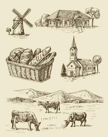 granja: dibujado a mano conjunto de vectores granja y animales sin fisuras Vectores
