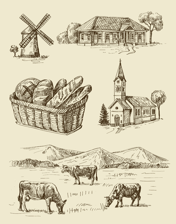 country landscape: vector seamless farm and animals hand drawn set