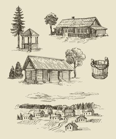 paisaje rural: vector de la granja y sin fisuras conjunto dibujado a mano de la vendimia Vectores
