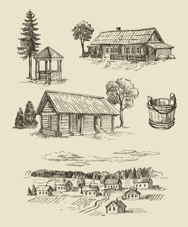 rural houses: vector seamless farm and vintage hand drawn set Illustration