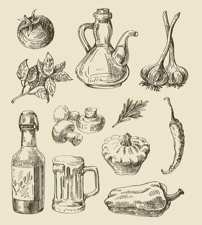 aceite de cocina: boceto dibujado alimentos vector de la mano y la cocina del doodle Vectores