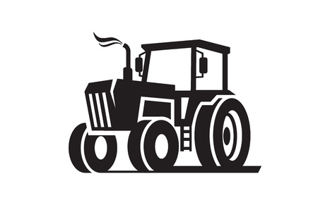 machinery: vector black Tractor icon on white background