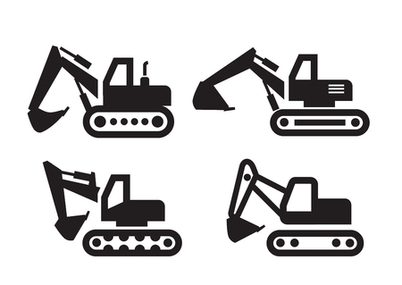 dredge to dig: vector black Excavator icon on white background