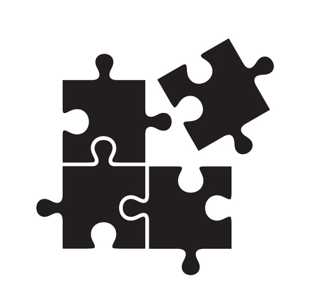 벡터 흰색 배경에 검은 퍼즐 아이콘