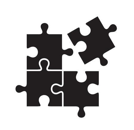 piezas de rompecabezas: vector de rompecabezas icono negro sobre fondo blanco
