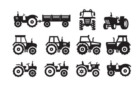 symbole: Tracteur vecteur icône noire sur fond blanc Illustration