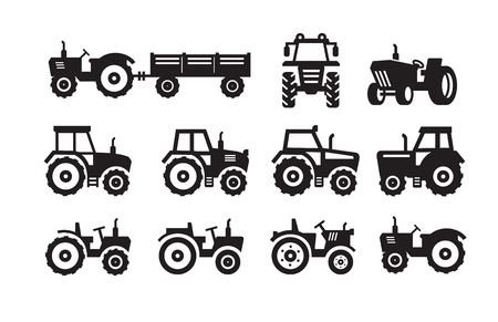 truck tractor: vector black Tractor icon on white background