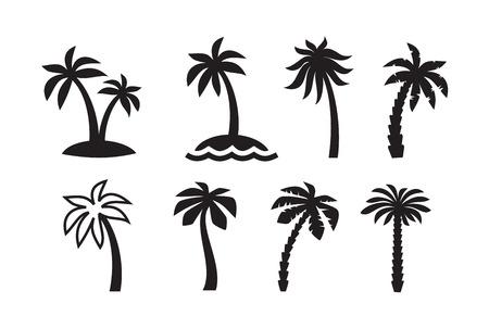 palmier: vecteur palme icône noire sur fond blanc Illustration