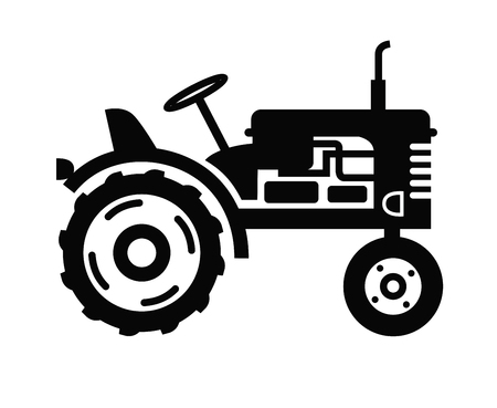 tractor in field: vector black Tractor icon on white background