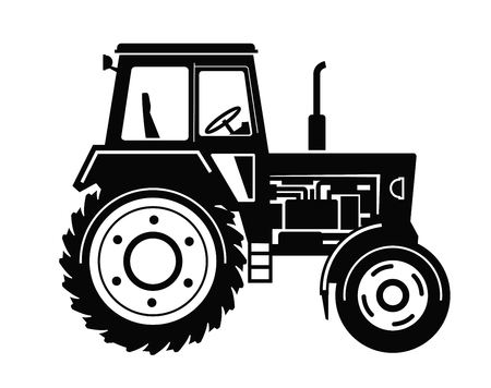 farm equipment: vector black Tractor icon on white background