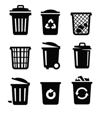can: vector black trash can icon on white background