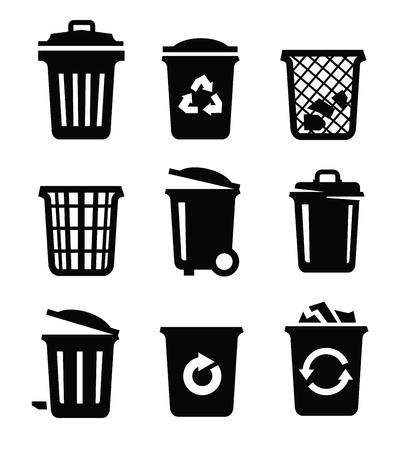 cesto basura: vector negro icono de papelera en el fondo blanco