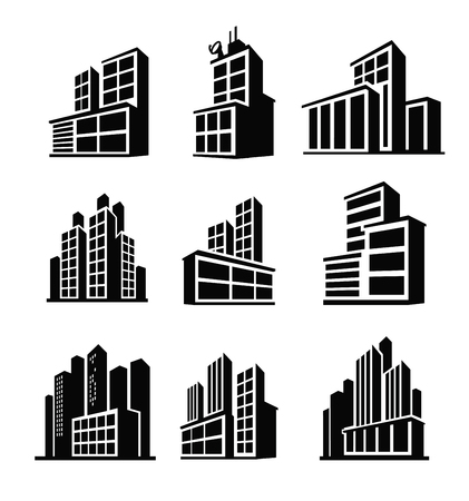 ilustración vectorial negro del icono del edificio en blanco Vectores