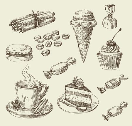 vector hand drawn food sketch and kitchen doodle Imagens - 47345391