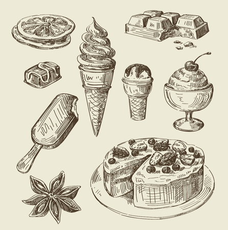 벡터 손으로 그린 음식 스케치 및 주방 낙서 스톡 콘텐츠 - 47345392