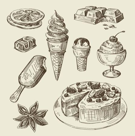 croquis alimentaire dessinée vecteur main et cuisine doodle