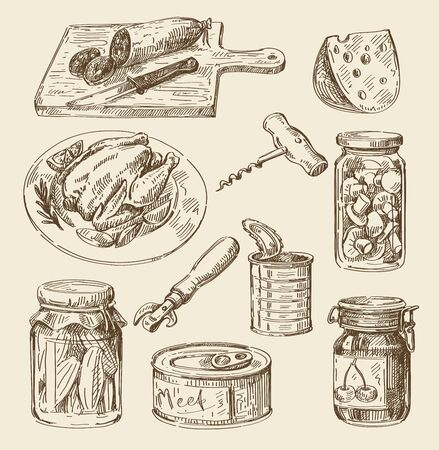 hand jam: vector hand drawn food sketch and kitchen doodle