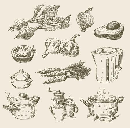 ベクターの手描き下ろし食品スケッチとキッチンの落書き