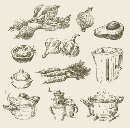vector hand drawn food sketch and kitchen doodle Фото со стока - 47416569