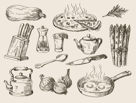 Vektor handgezeichneten Skizze Essen und Küche doodle Standard-Bild - 47608747