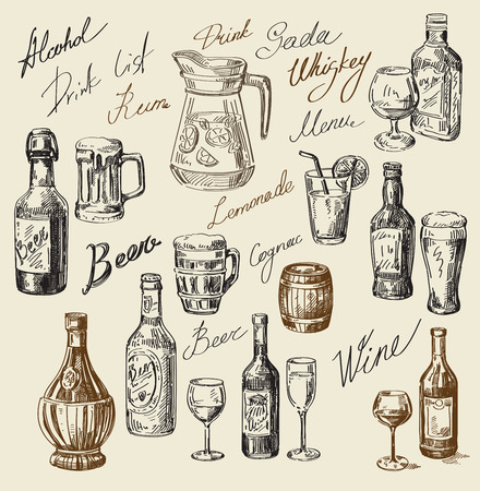wine and food: vector hand drawn drink sketch and beverages doodle