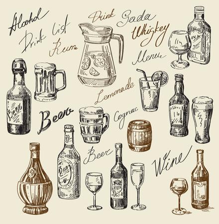 Vector hand getekende drank schets en dranken doodle Stock Illustratie