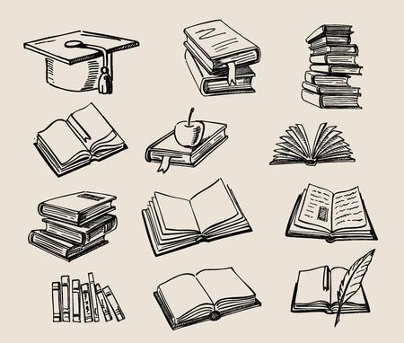vector hand getrokken stapel van boeken schets doodle